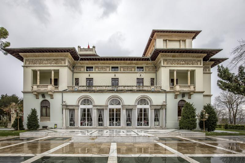 Exterior shot from Khedive Palace Hidiv Kasri, located on the Asian side of the Bosphorus in Istanbul, Turkey, was a former stock photos