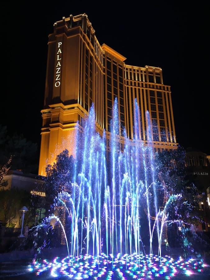 Exterior shot of Palazzo Hotel Las Vegas by night. Las Vegas, NV, USA – November 13, 2016: Exterior shot of the Palazzo Hotel in Las Vegas royalty free stock photos