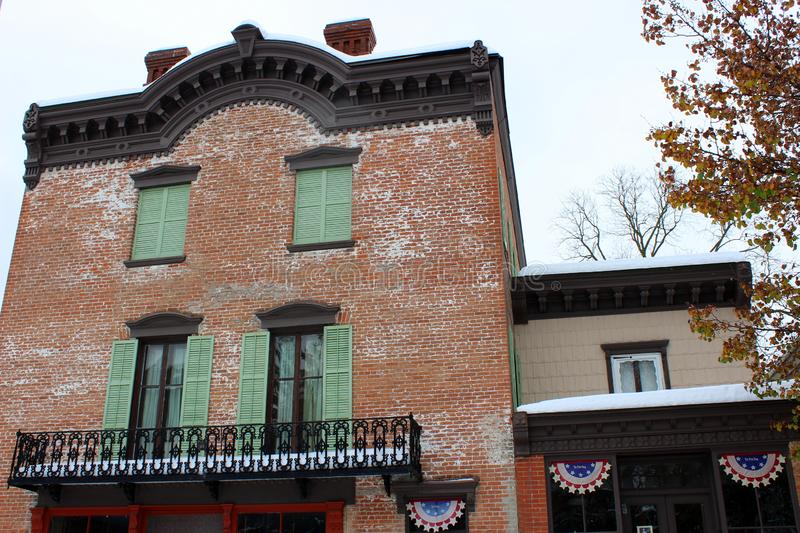Exterior shot of shop`s brick facade, a place that once dealt with buyers on the Erie Canal, Old Palmyra, New York, 2018. Exterior shot of Wm. Phelps General stock images
