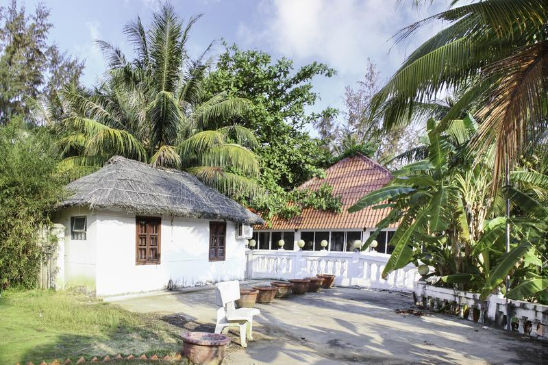 Exterior of small house located in the resort of Phu Quoc island. Smail house with beautiful exterior located in the resort in Phu Quoc Island in Vietnam stock photography