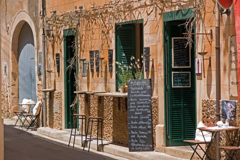 Exterior of Spanish restaurant stock images