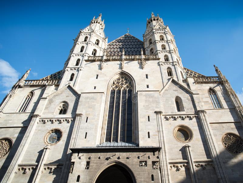 Exterior St Stephens Vienna. St. Stephen`s Cathedral is the mother church of the Roman Catholic Archdiocese of Vienna and the seat of the Archbishop of Vienna stock images