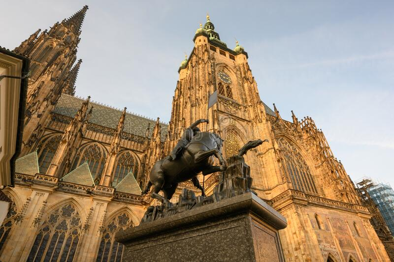 Exterior of St. Vitus Cathedral at Prague Castle. royalty free stock photo
