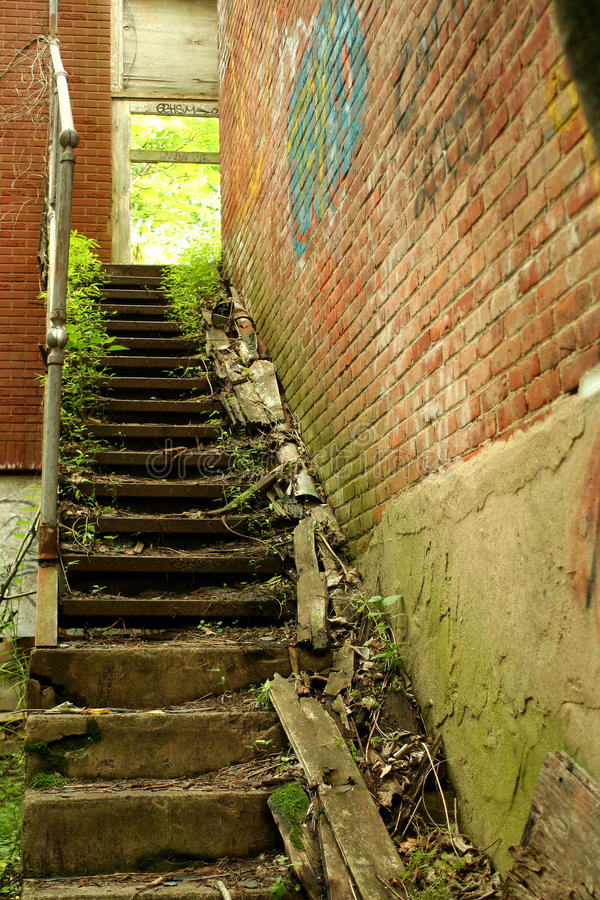 Exterior Staircase On A Abandoned Building Stock Photos