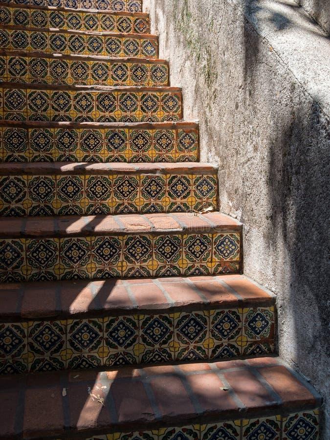 Exterior stairway, Tlaquepaque Arts and Crafts Village. Beautiful tiled stairs, Tlaquepaque in Sedona, Arizona stock photos
