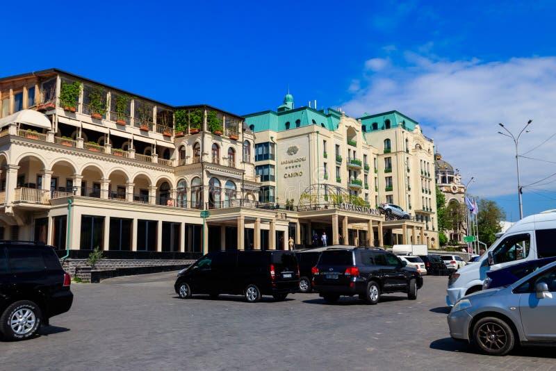 Exterior of 5 star modern Ambassadori Tbilisi Hotel and casino stock images