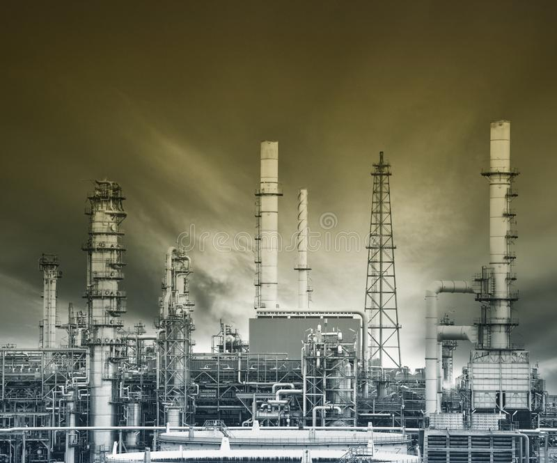 Exterior structure of oil refinery plant in heavy petro chemical stock photo