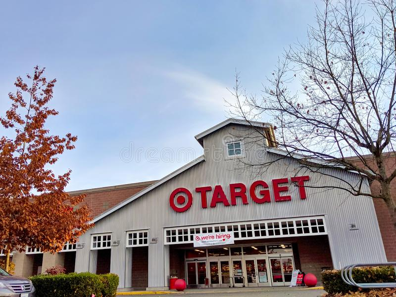 Exterior of Target grocery and house goods store in Woodinville, WA. Woodinville, WA / USA -circa November 2019: Exterior of Target grocery and house goods store stock photos