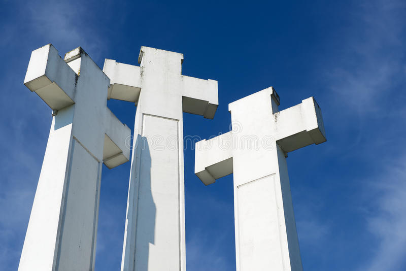 Exterior of the Three Crosses at the Three Crosses hill in Vilnius, Lithuania. stock photos