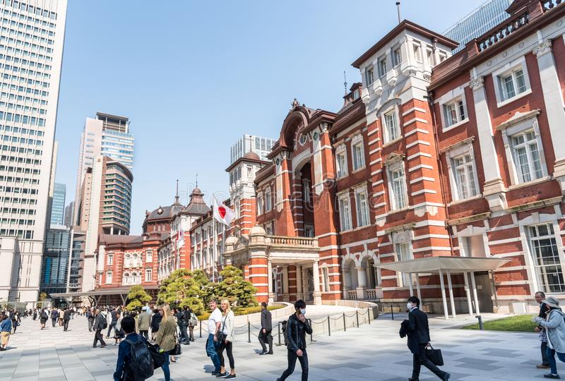 Exterior of Tokyo Station on a Sunny Early Spring Day royalty free stock photo