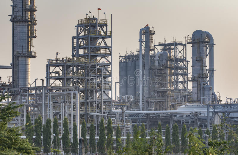 Exterior tube of petrochemical plant and oil refinery for produce industrial material in heavy petroleum industry estate stock photography