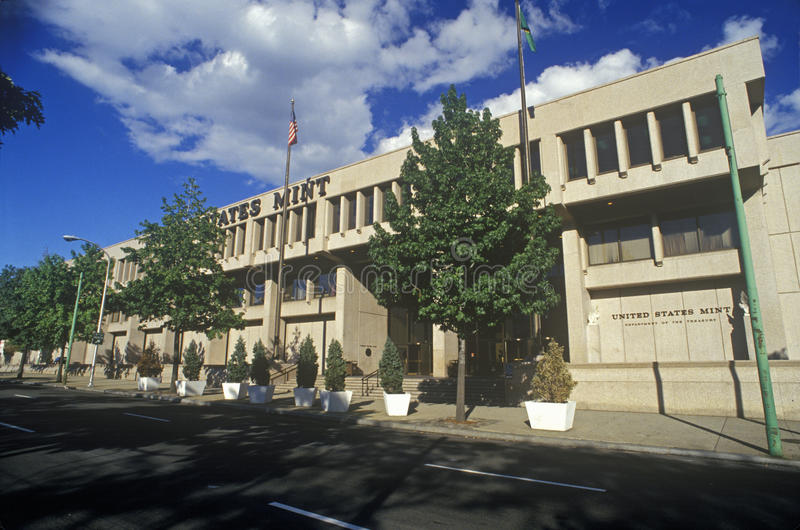 Exterior of United States Mint, Philadelphia, PA stock photography