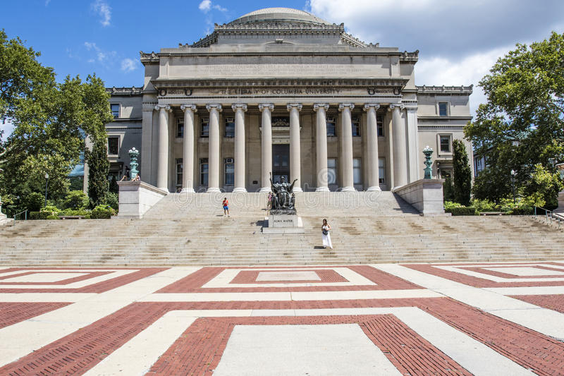 Exterior of the university library of Columbia University, Upper Manhattan, New York City stock photography