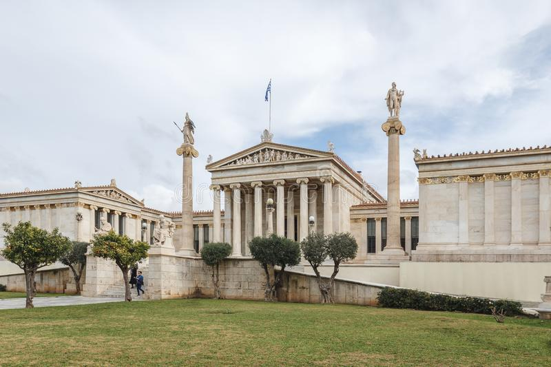 Exterior view of the Academy of Athens, Outside view of Ancient Greek style architecture in Athens, Greece.  stock photography