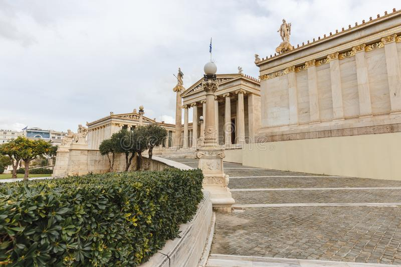 Exterior view of the Academy of Athens, Outside view of Ancient Greek style architecture in Athens, Greece.  stock photos