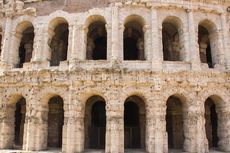 Rome, Italy - September 12, 2017: Exterior view of ancient roman marcellus theater building. Theatre of Marcellus. royalty free stock images