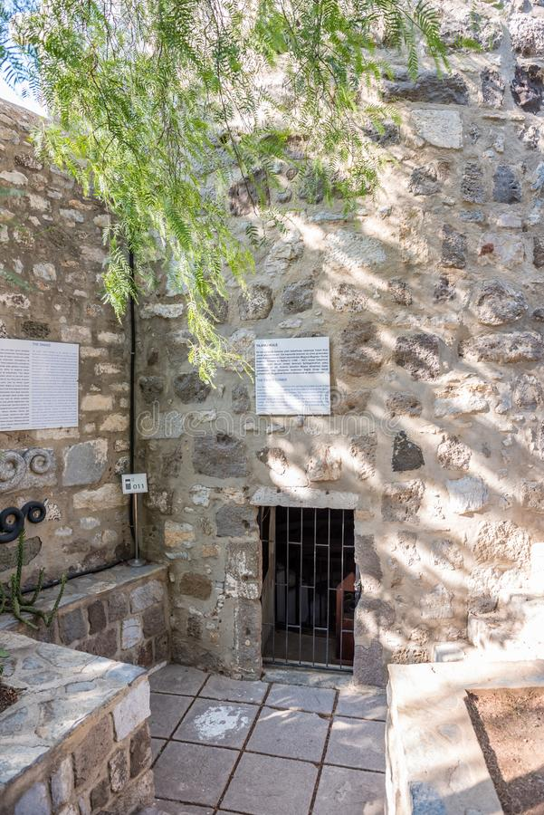 Exterior view of ancient snake tower in Bodrum Castle. Turkey royalty free stock images