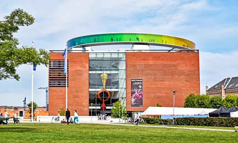 Exterior view of the ARoS Aarhus Art Museum. Aarhus, Denmark - July 20, 2017: Exterior view of the ARoS Aarhus Art Museum with the `Your rainbow panorama` on its royalty free stock image