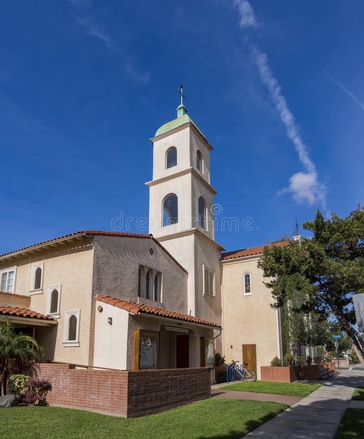Exterior view of the Bay Shore Community Congregational Church. On at Long Beach, Los Angeles County, California royalty free stock images