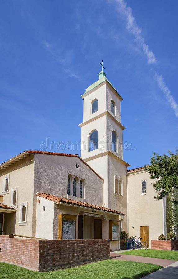 Exterior view of the Bay Shore Community Congregational Church. On at Long Beach, Los Angeles County, California royalty free stock image