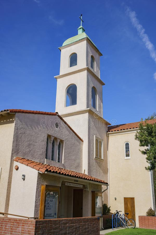 Exterior view of the Bay Shore Community Congregational Church. On at Long Beach, Los Angeles County, California royalty free stock photography