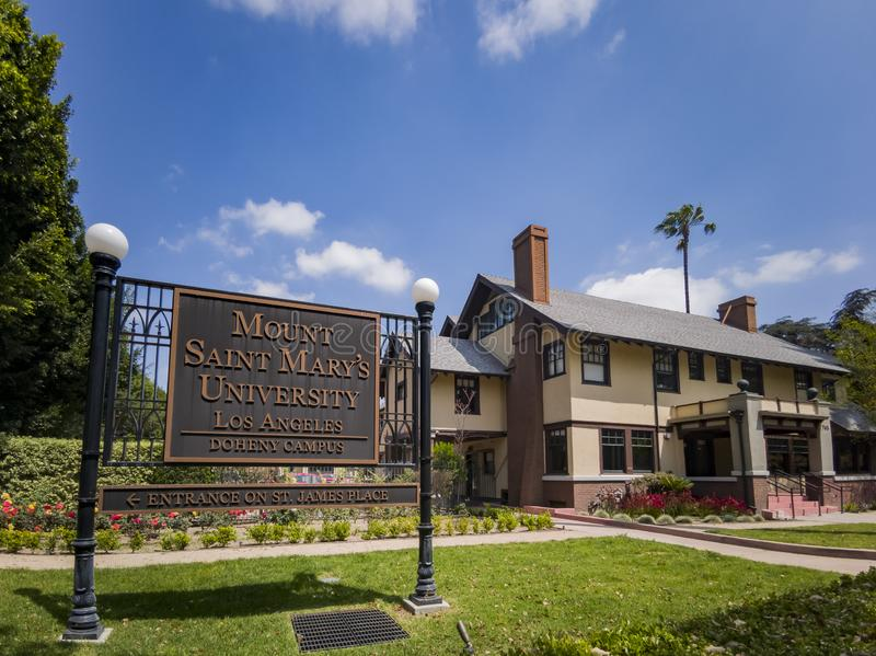 Exterior view of beautiful building of Mount Saint Mary\'s University. Los Angeles, APR 2: Exterior view of beautiful building of Mount Saint Mary\'s University stock photography