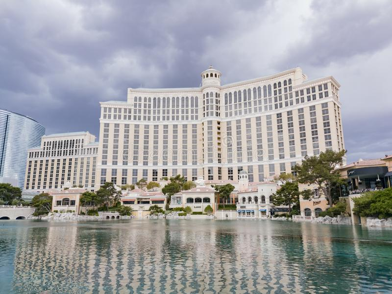 Exterior view of the Bellagio Hotel and Casino with it\'s fountain. Las Vegas, APR 28: Exterior view of the Bellagio Hotel and Casino with it\'s fountain on APR stock photos