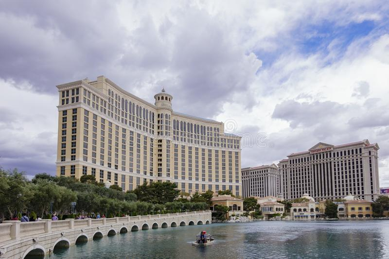 Exterior view of the Bellagio Hotel and Casino with it\'s fountain. Las Vegas, APR 28: Exterior view of the Bellagio Hotel and Casino with it\'s fountain on APR stock images