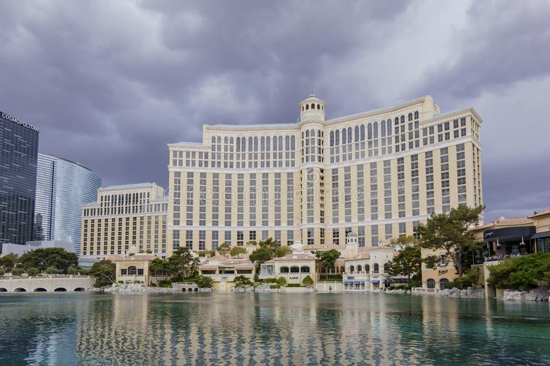 Exterior view of the Bellagio Hotel and Casino with it\'s fountain. Las Vegas, APR 28: Exterior view of the Bellagio Hotel and Casino with it\'s fountain on APR stock photo
