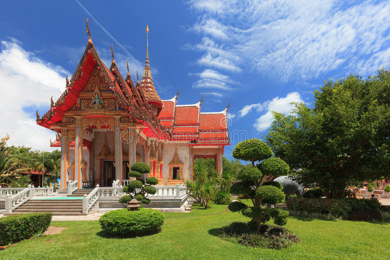 Exterior view of the Buddhist temple at Wat Chalong or known off. Icial name is Wat Chai Tharam is invaluable famous temples of Phuket, Thailand stock photo