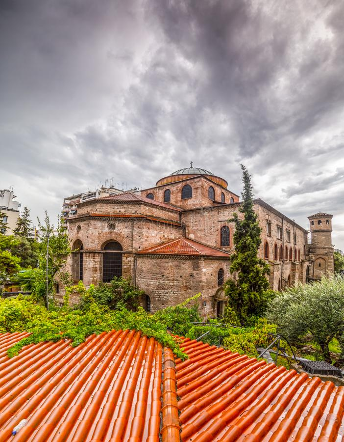 Exterior view of the Byzantince chuch of Hagia Sophia or Agias Sofias in Thessaloniki. Greece royalty free stock photo