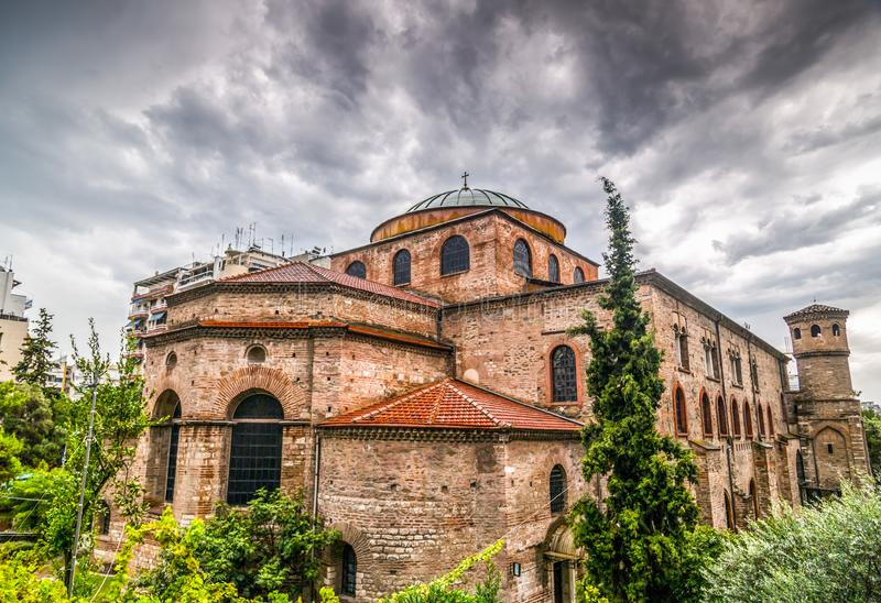 Exterior view of the Byzantince chuch of Hagia Sophia or Agias Sofias in Thessaloniki. Greece stock photo