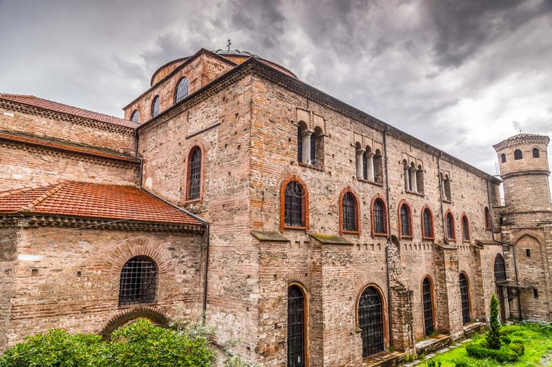 Exterior view of the Byzantince chuch of Hagia Sophia or Agias Sofias in Thessaloniki. Exterior view of the Byzantine chuch of Hagia Sophia or Agias Sofias in royalty free stock photography