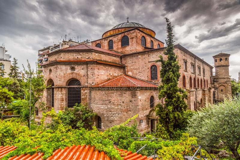 Byzantine chuch of Hagia Sophia or Agias Sofias in Thessaloniki, Greece. Exterior view of the Byzantine chuch of Hagia Sophia or Agias Sofias in Thessaloniki royalty free stock image