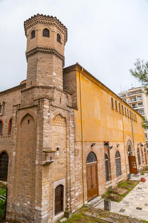 Byzantine chuch of Hagia Sophia or Agias Sofias in Thessaloniki, Greece. Exterior view of the Byzantine chuch of Hagia Sophia or Agias Sofias in Thessaloniki stock photography