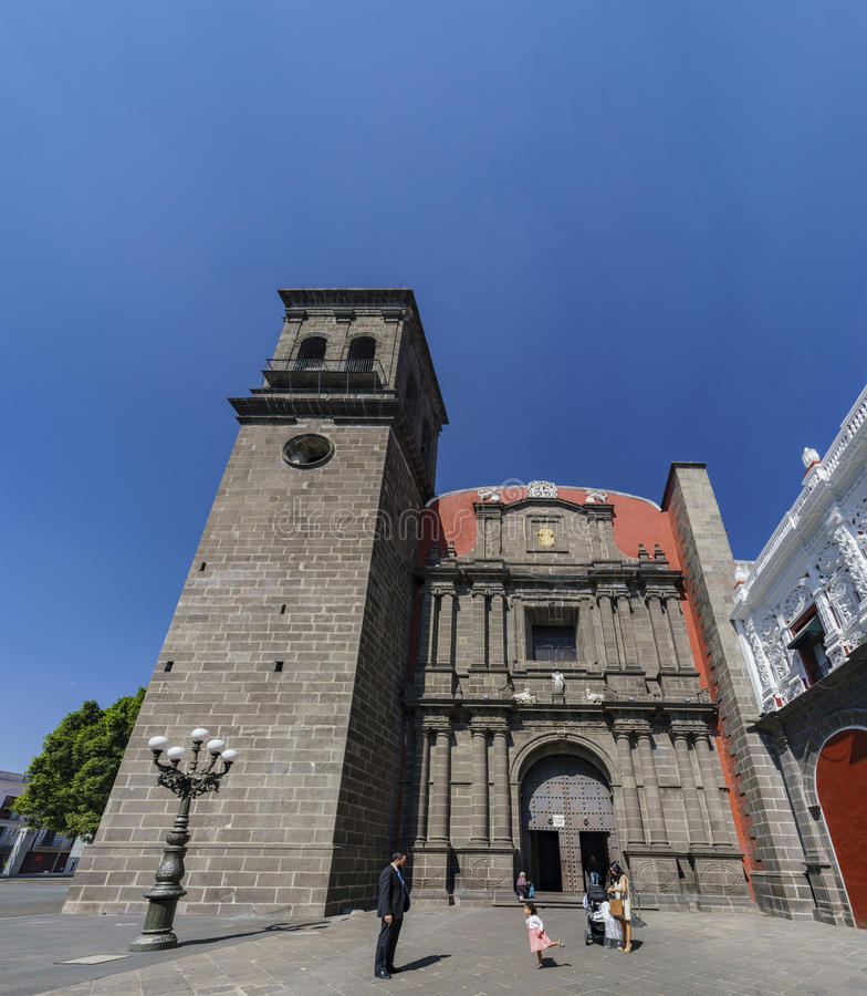 Exterior view of Church of Santo Domingo. Puebla, FEB 18: Exterior view of Church of Santo Domingo on FEB 18, 2017 at Puebla, Mexico stock images