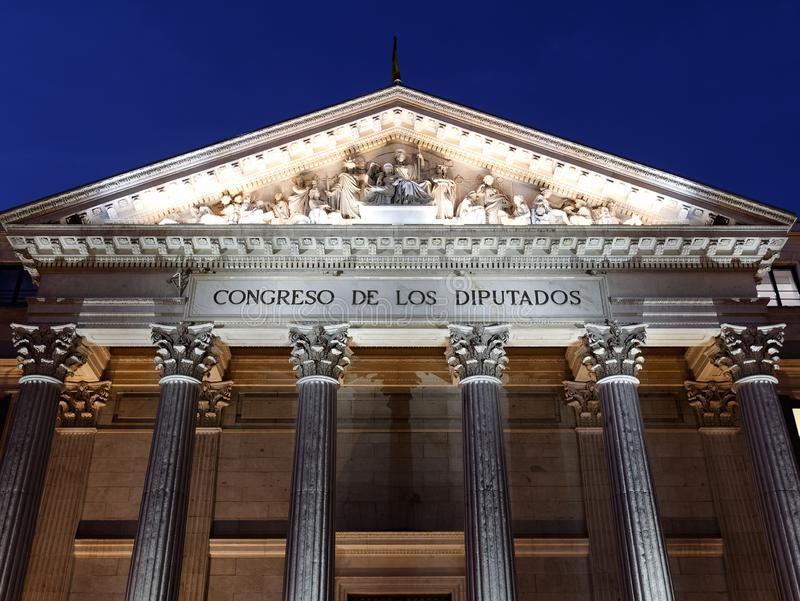 Exterior view of Congreso de los deputados congress of deputies Madrid Spain at night. Frontal view stock image