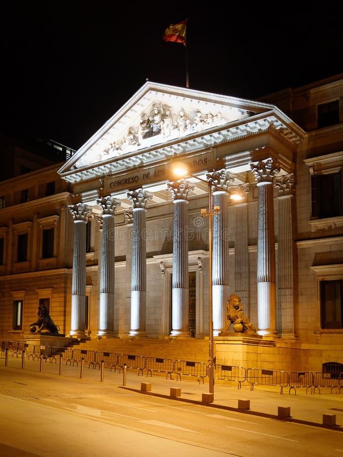 Exterior view of Congreso de los deputados congress of deputies Madrid Spain at night. Perspective view stock photos