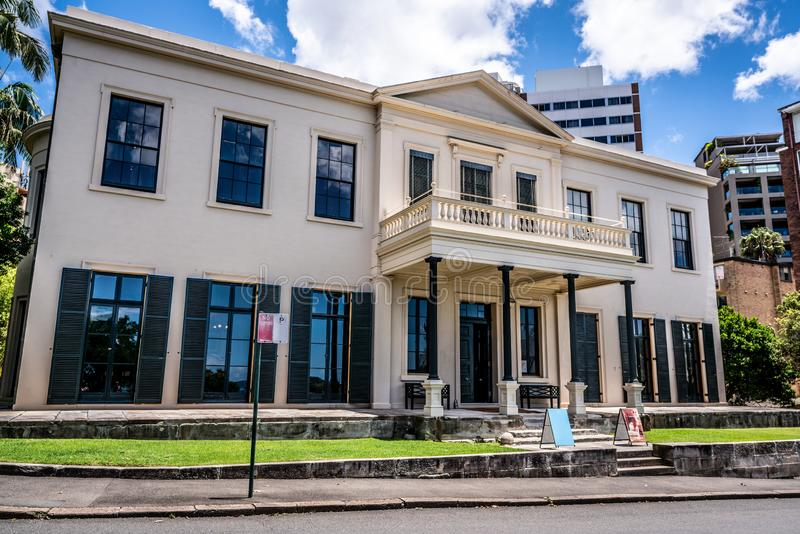Exterior view of Elizabeth Bay House with an old Australian colonial regency architecture style in Sydney Australia stock photo