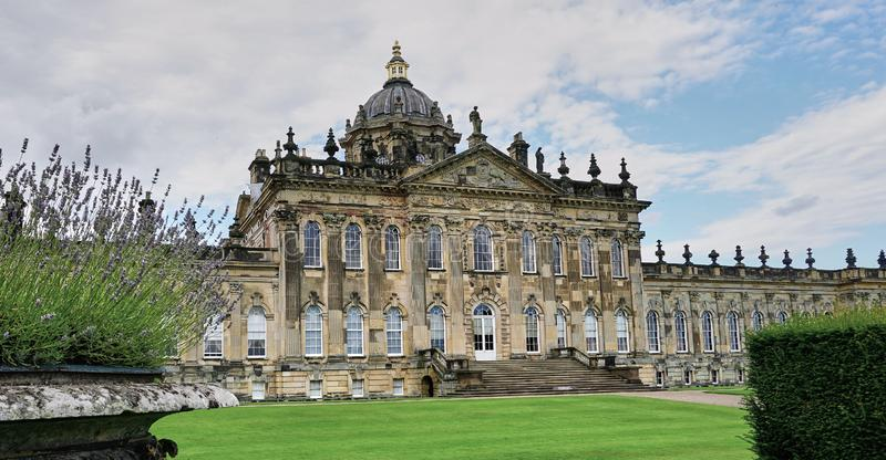 Exterior view of Famous Castle Howard, Yorkshire England. Yorkshire, England - Aug 2016: Exterior view of Baroque style estate home in rural Yorkshire, England stock images