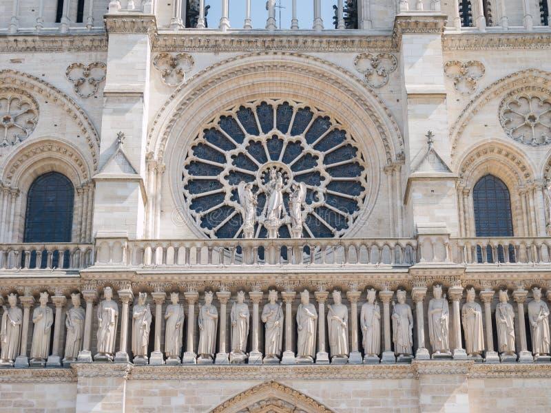 Exterior view of the famous Notre-Dame de Paris. At Paris, France royalty free stock photo