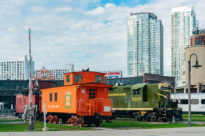 Exterior view of the famous Toronto Railway Museum and downtown skyscrapper. Toronto, SEP 29: Exterior view of the famous Toronto Railway Museum and downtown stock photo