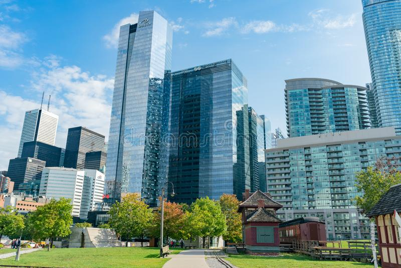 Exterior view of the famous Toronto Railway Museum and downtown skyscrapper. Toronto, SEP 29: Exterior view of the famous Toronto Railway Museum and downtown royalty free stock image