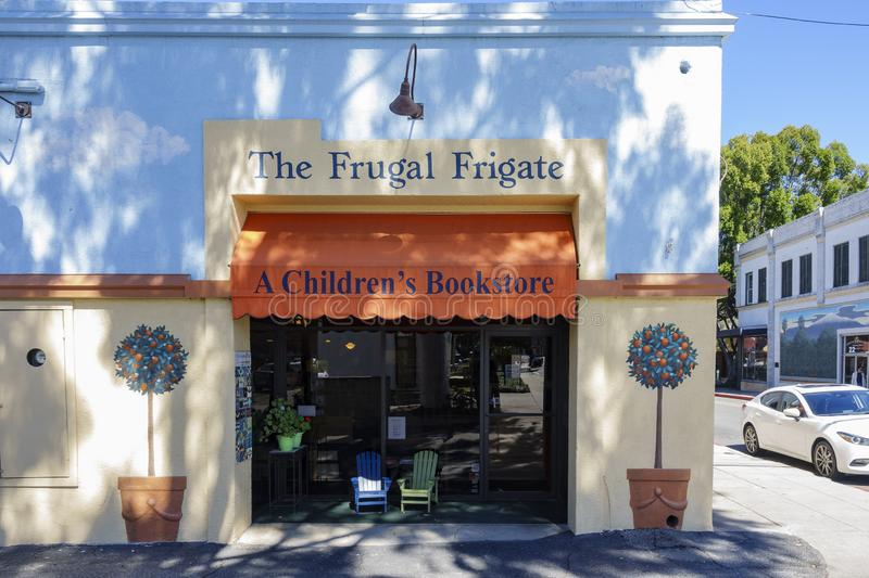 Exterior view of the The Frugal Frigate - A Children's Bookstore stock photography