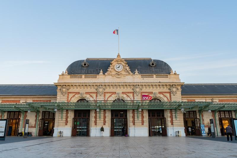 Exterior view of the Gare De Nice Ville train station royalty free stock photos
