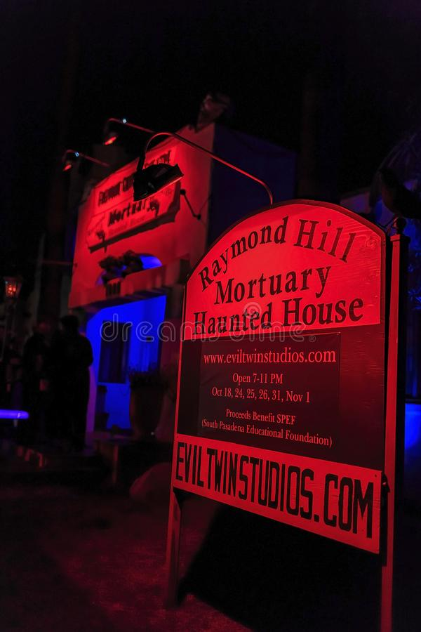 Exterior view of the Haunted House. South Pasadena, OCT 25: Exterior view of the Haunted House on OCT 25, 2014 at South Pasadena, Los Angeles County, California royalty free stock photo