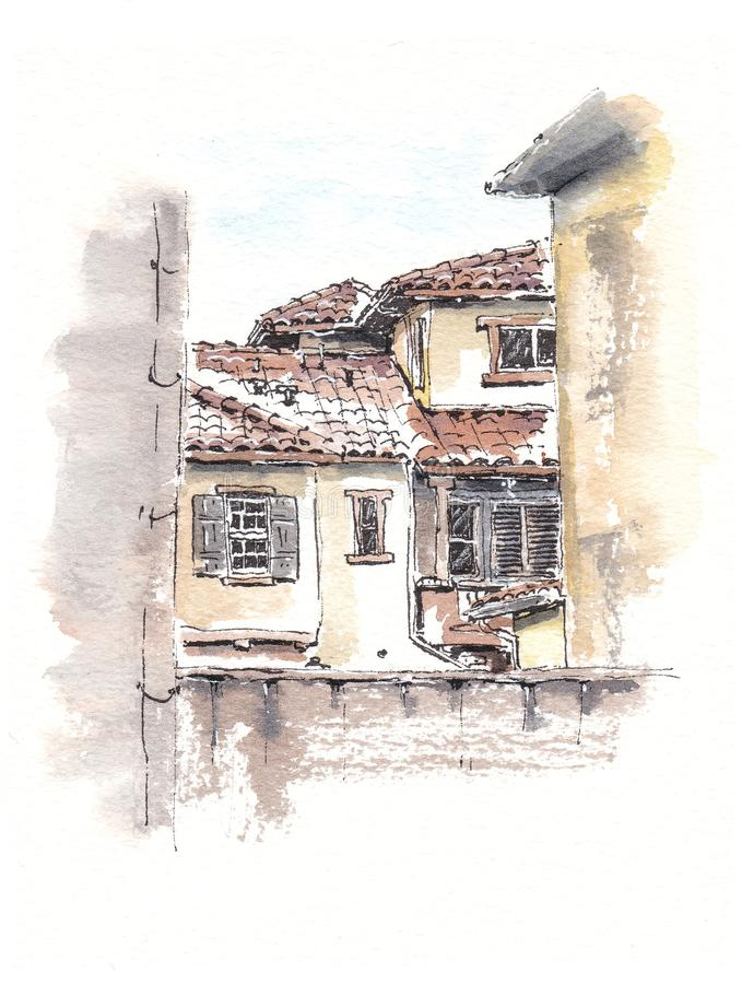 Exterior view house illustration in italian style royalty free illustration