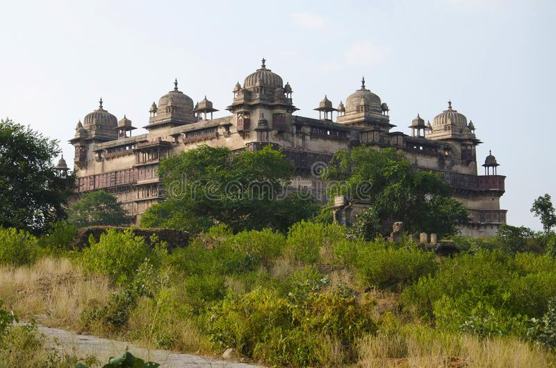 Exterior view of Jahangir Mahal Palace. Orchha fort complex. Orchha. Madhya Pradesh. stock photos