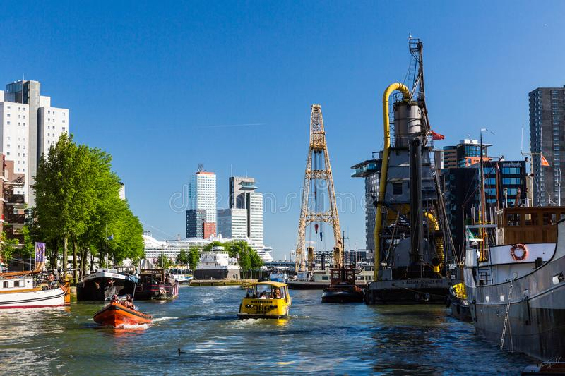 Exterior view of the Leuvehaven ship harbor in the city center o stock images