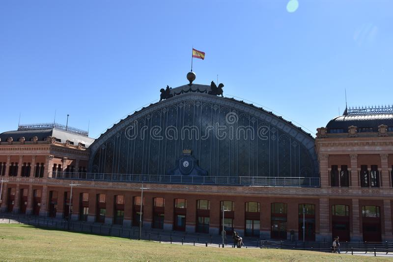 Exterior view of the main railway station, Atocha in Madrid Spain. The view of the exterior of the Atocha Railway station in Madrid, Spain stock photography